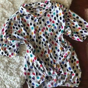 Vintage   Short Sleeve Colorful Dots Button Down